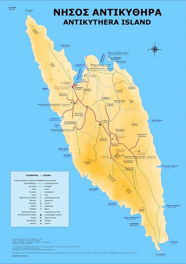 Antikythira Landkarte Map Mappa