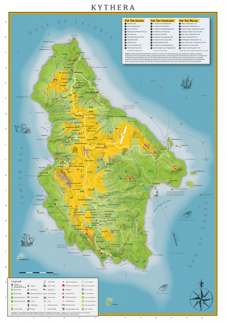 Map Kythera Island - Landkarte Insel Kythira