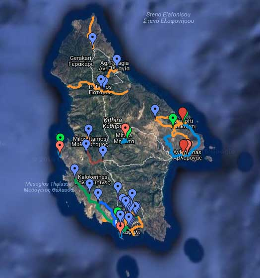 Hiking trails Kythira